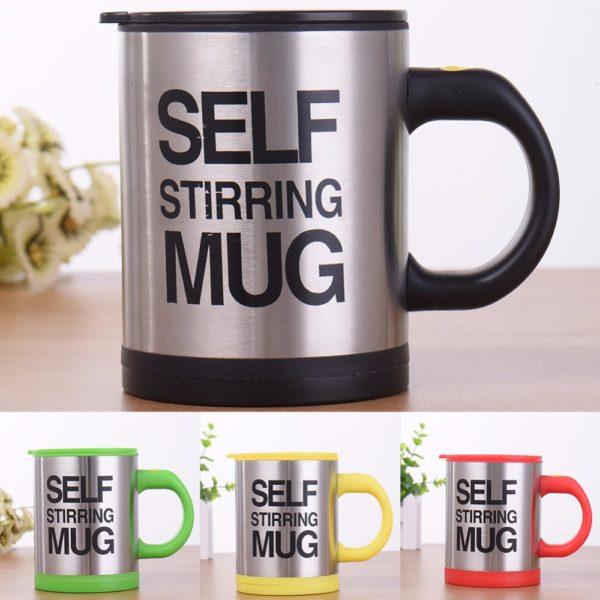 Self stirring mug on table