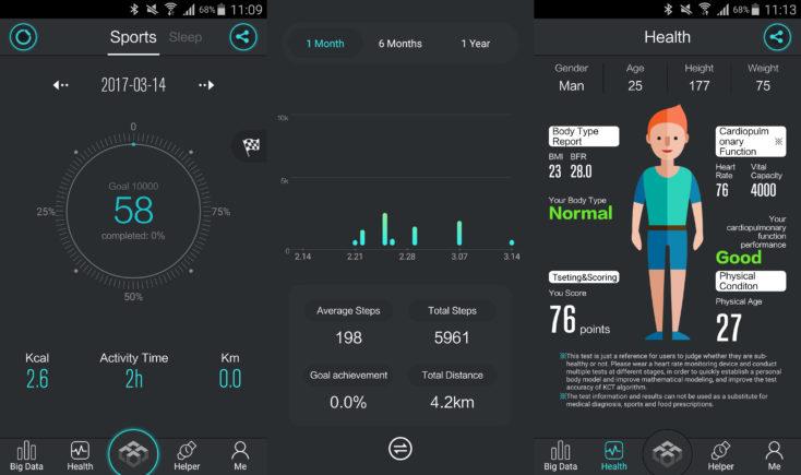 screenshots of the Makibes DM98 app