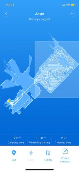 Xiaomi RoboRock Sweep One S50 vacuum robot map drawn diagonal