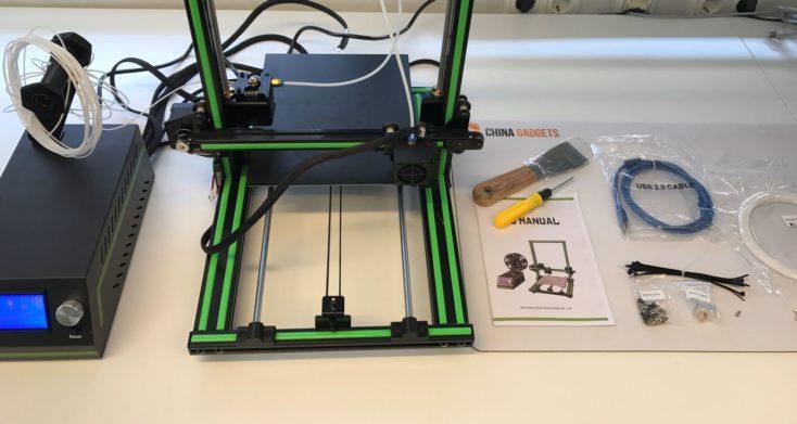 Anet E10 3D printer box content
