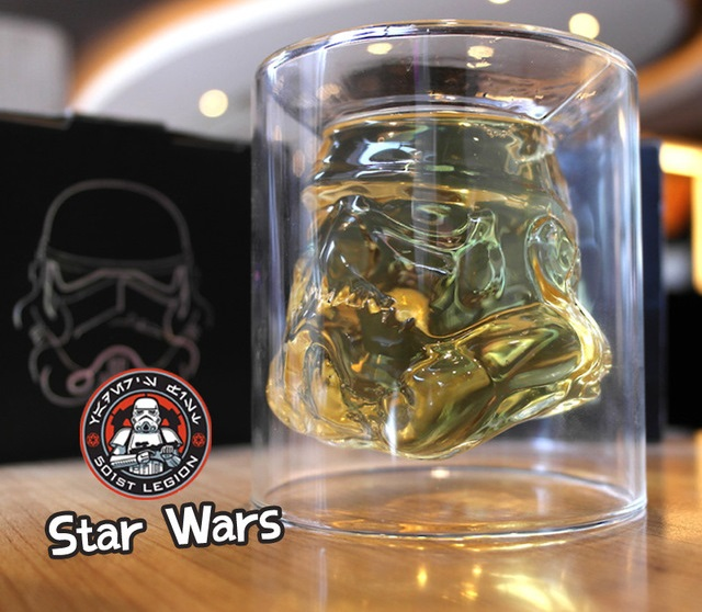 Stormtrooper shape in whiskey glass