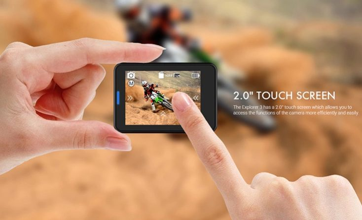The touchscreen of the MGCOOL Explorer 3 4K Action Cam