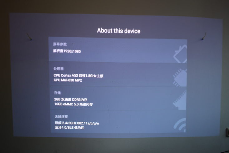 Hardware Specs of the Xiaomi projector