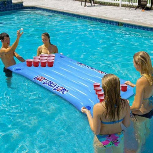 Beer pong game inflatable for swimming pool