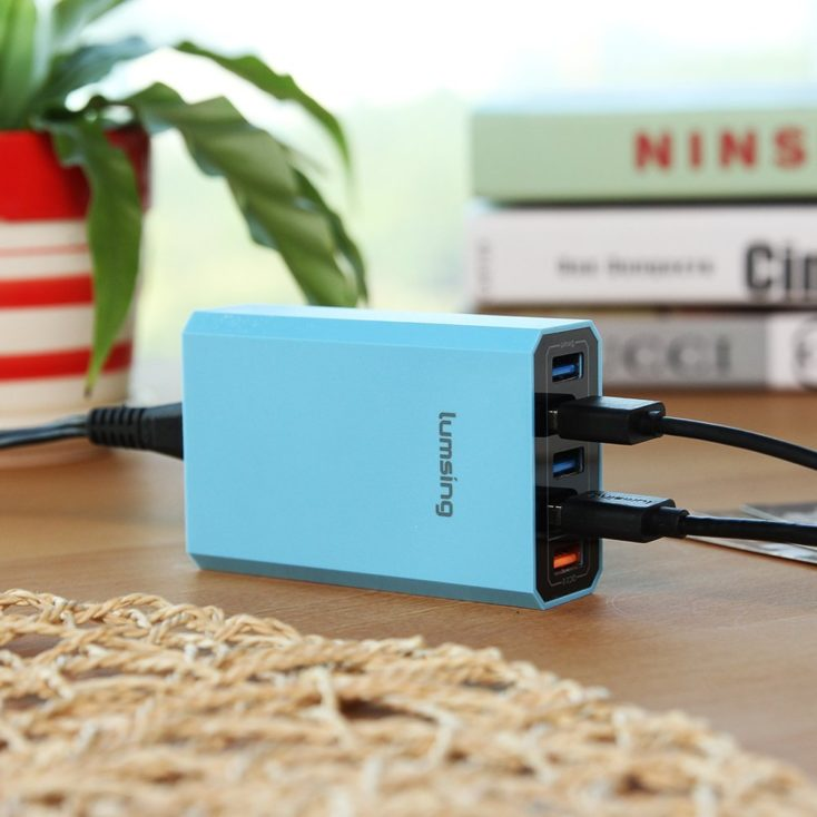 Lumsing 40 W USB charging station blue