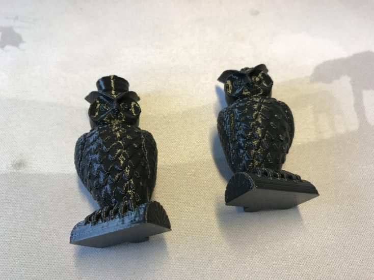 Closeup of the two printed owls
