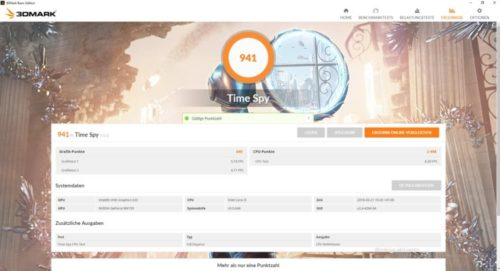 3DMark Benchmark Xiaomi with Notebook Air 2018