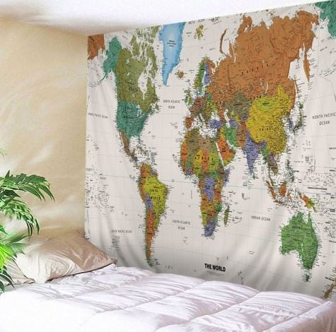 Canvas with world map