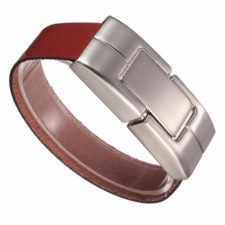 Leather bracelet with USB stick Brown