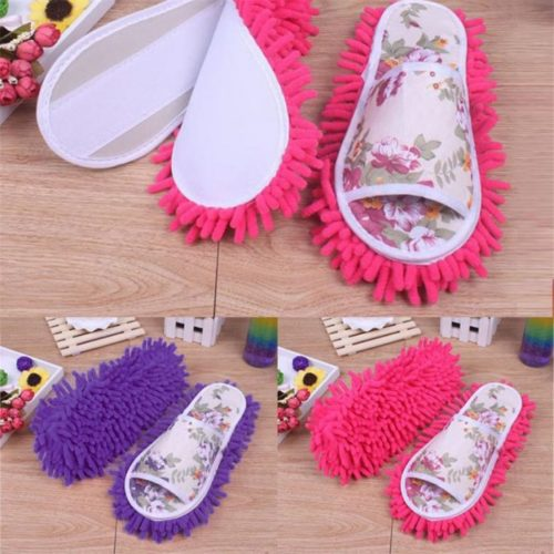 Mop slippers with removable sole