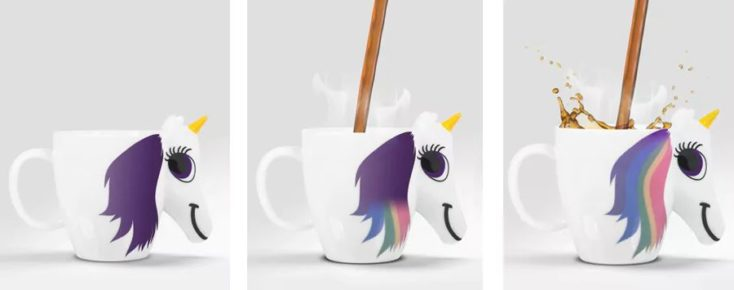 Unicorn cup colour change