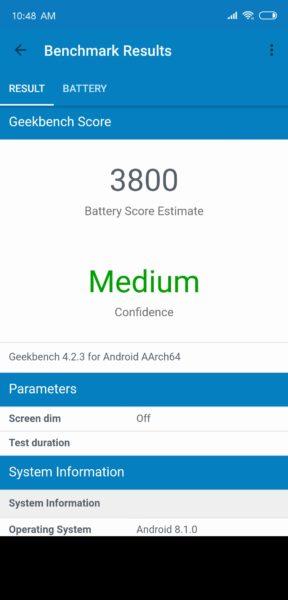 Xiaomi Mi 8 Battery Benchmark Screenshot