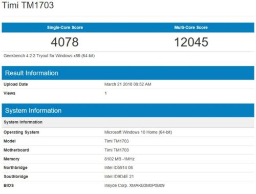 geekbench 4 CPU Review Xiaomi Mi Notebook Air 2018