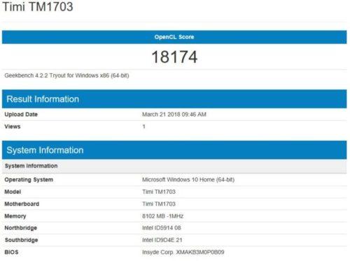 geekbench 4 GeForce MX 150 Benchmark Xiaomi Mi Notebook Air 2018