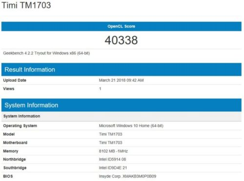 geekbench 4 GeForce MX 150 Benchmark Xiaomi Mi Notebook Air 2018