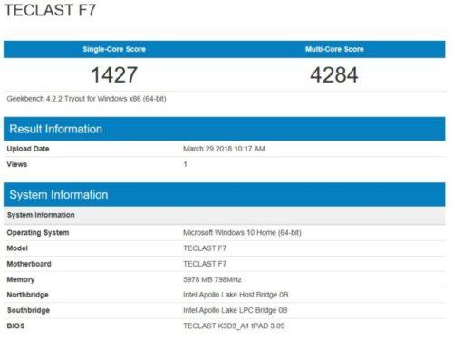 geekbench CPU Benchmark Teclasts F7
