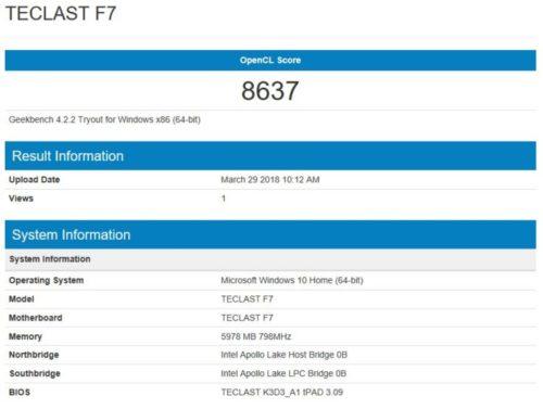 geekbench GPU benchmark Teclast F7