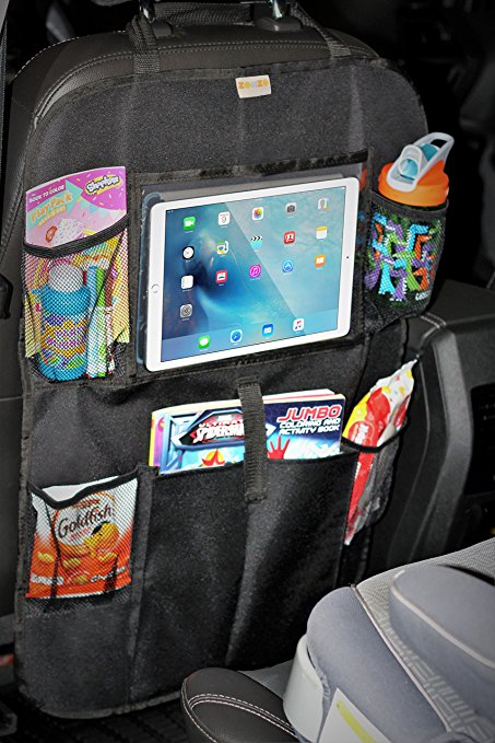 Car seat protection and organizer in the car