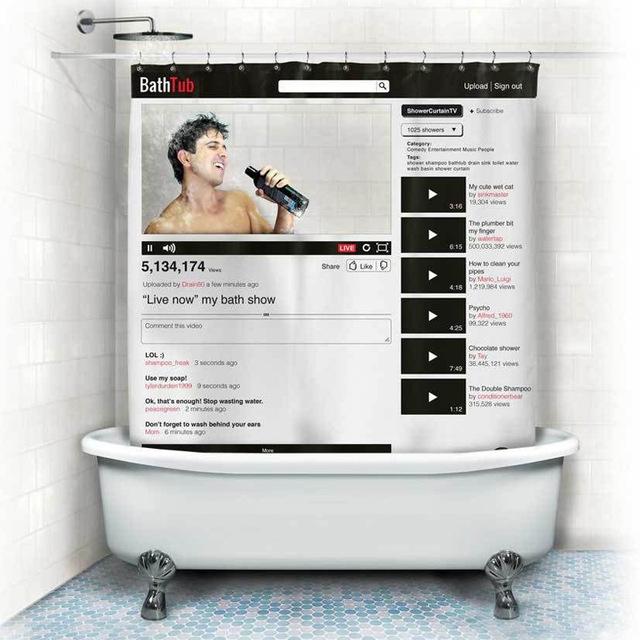 Social shower curtain BathTub Youtube Profile