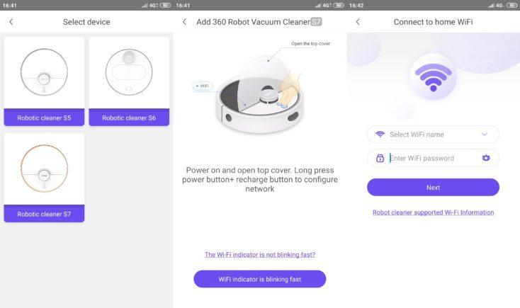 360 S7 Vacuum robot 360Smart App WLAN connection
