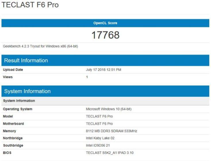 Geekbench 4 CPU Benchmark Teclast F6 Pro