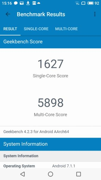 Meizu 15 Geekbench Benchmark Screenshot