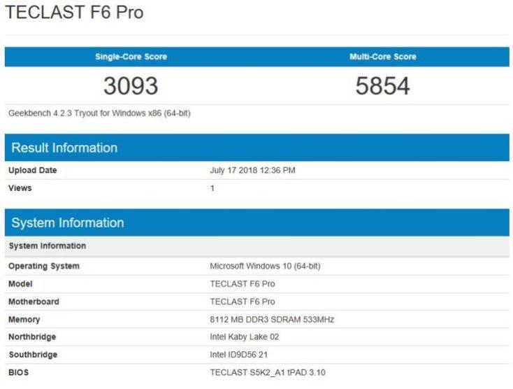 Teclast F6 Pro Benchmark Single Core