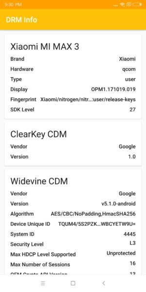Xiaomi Mi Max 3 DRM Level 3