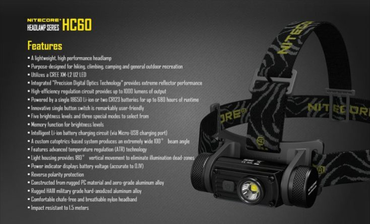 Nitecore HC60 Features