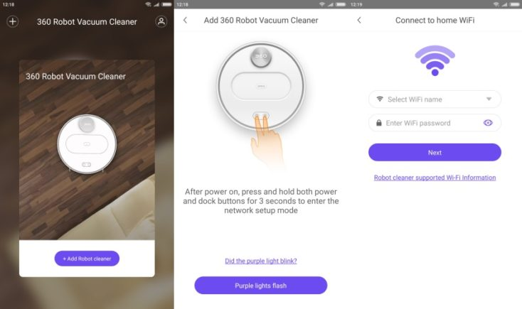 360 S6 Sweeping Robot Vacuum Robot App Connection