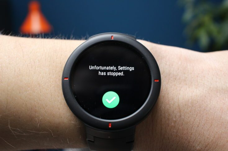 Amazfit Verge Options stopped