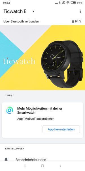 Ticwatch E WearOS App Overview