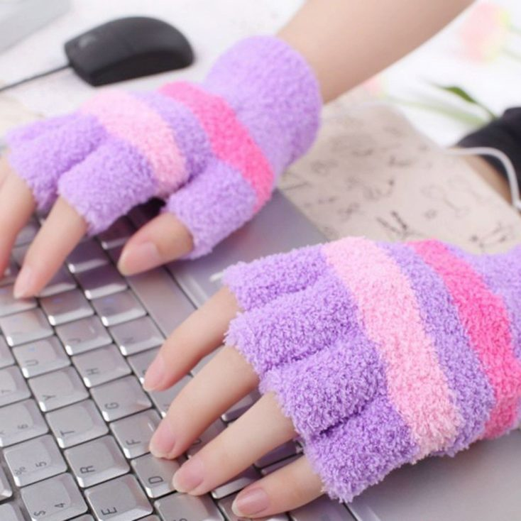USB gloves pink