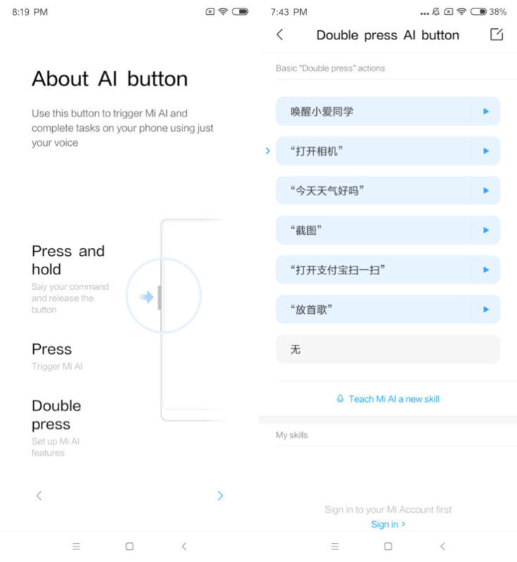 Xiaomi Mi Mix 3 Mi AI Button Settings