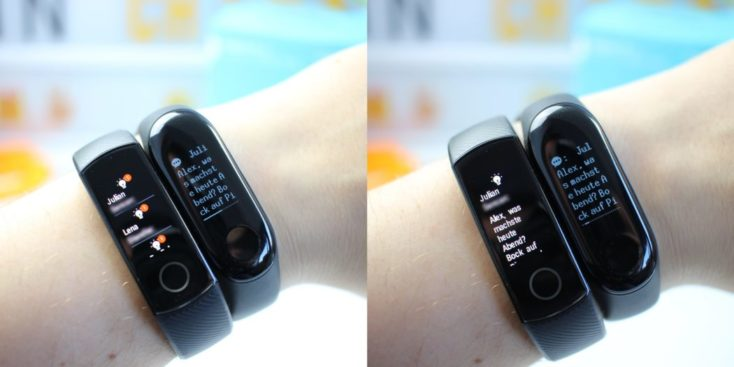 Honor Band 4 vs Mi Band 3 Whatsapp