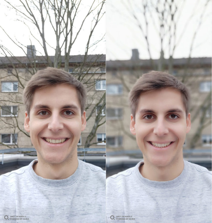 Nubia X test photo Selfie Porrtait comparison