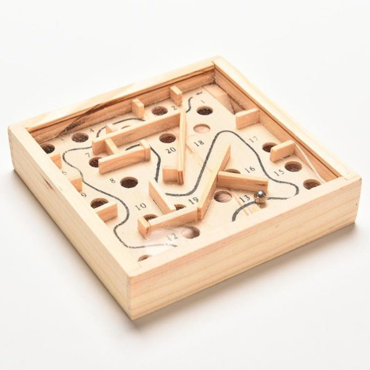 Wooden labyrinth children's toy ball