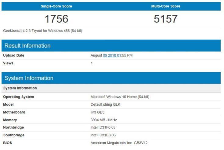 Geekbench 4 CPU Test