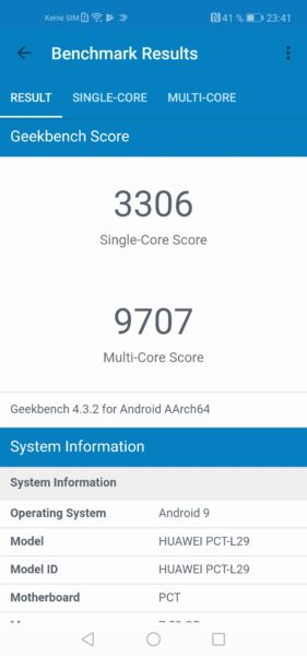Honor View 20 Geekbench