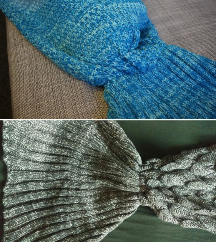 Knitted Blanket Mermaid Blue Grey
