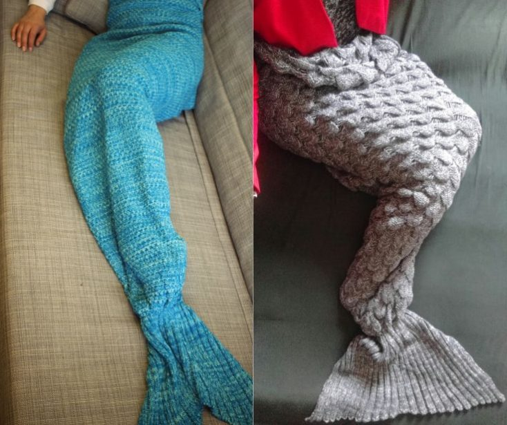 Knitted Blanket Mermaid Grey Green