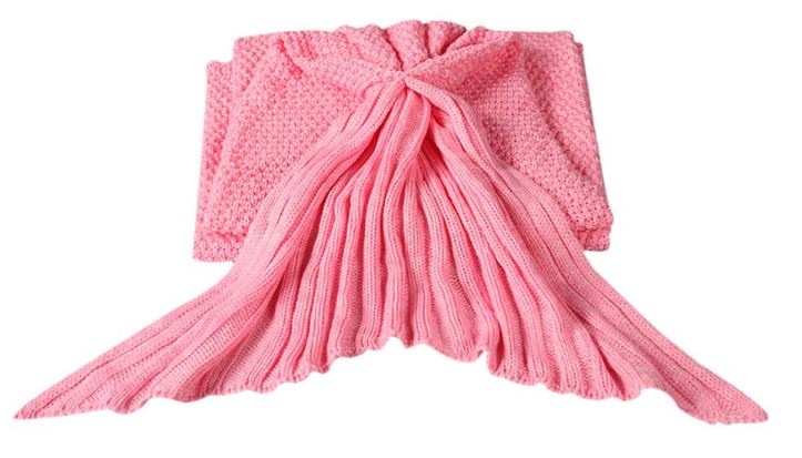 Knitted Blanket Mermaid Pink