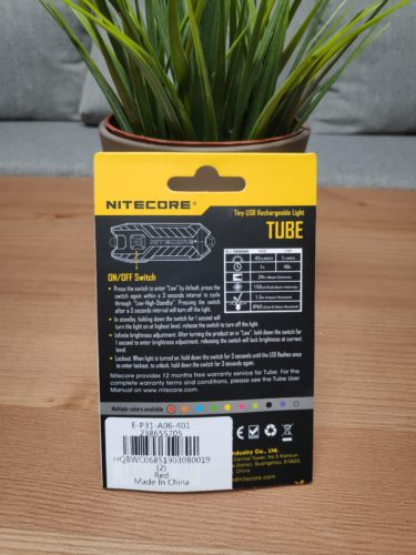 Nitecore Tube Packaging Backside