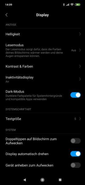 Xiaomi Mi 9 Display Dark Mode