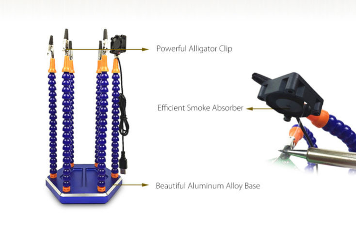 soldering station with six arms assembly