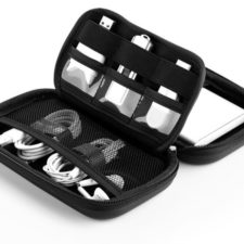 Hard disk case black with products inside
