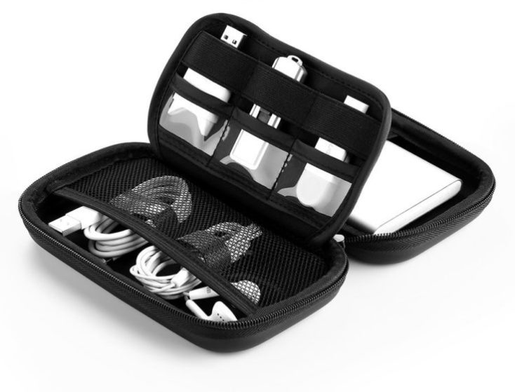 hard drive case black with products inside