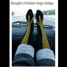 Knee socks with chicken legs