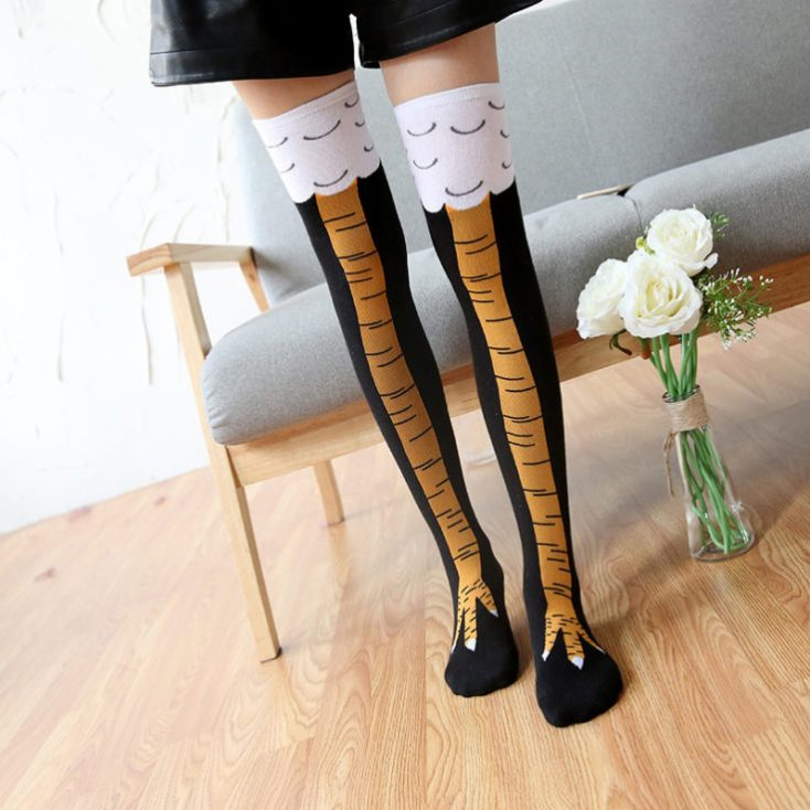 Knee socks with chicken legs girl