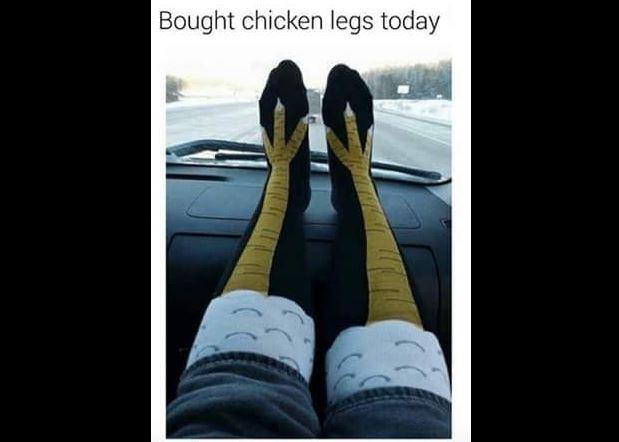 Knee socks with chicken legs